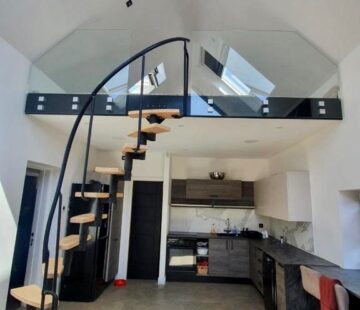 Spiral Staircase black handrail